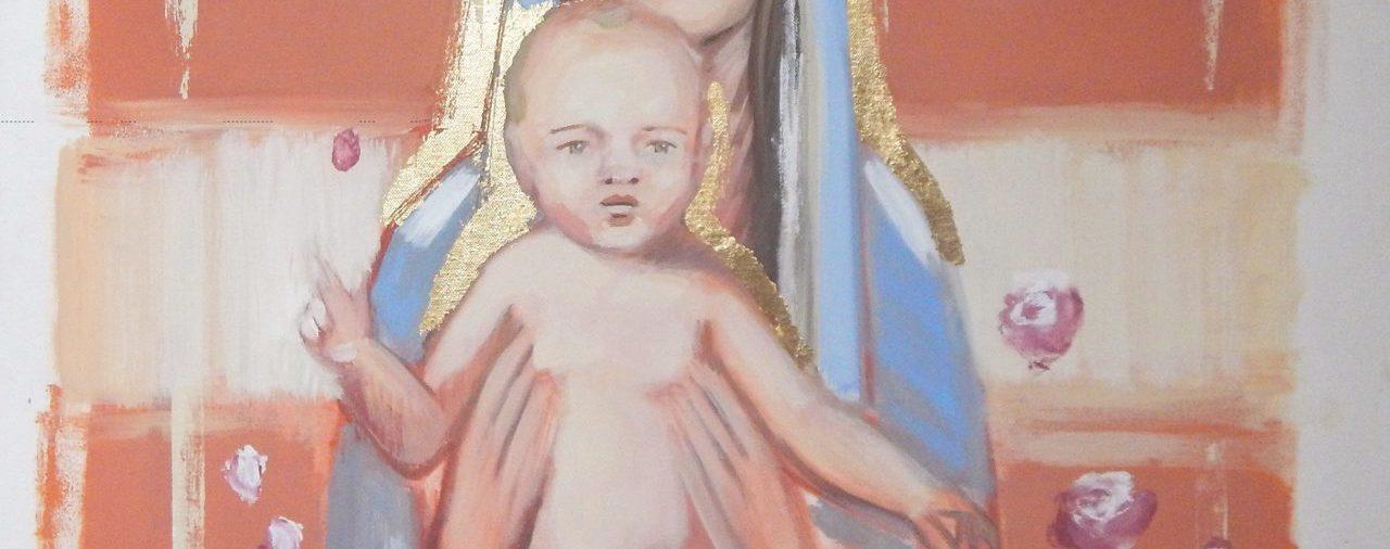 VIRGEN CON NIÑO<br>(80 x 80 cm)